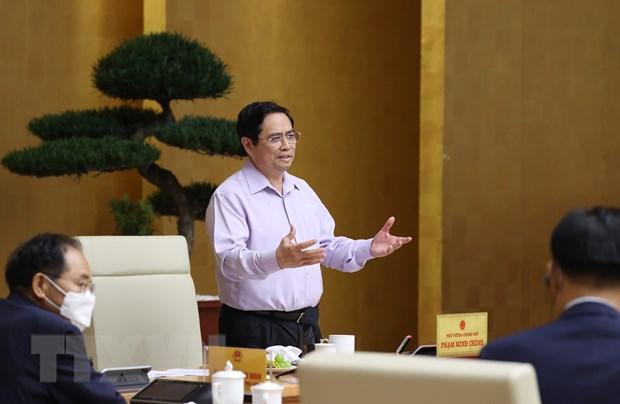 Thủ tướng Phạm Minh Chính kết luận buổi làm việc với các doanh nghiệp Hàn Quốc. (Ảnh: Dương Giang/TTXVN)