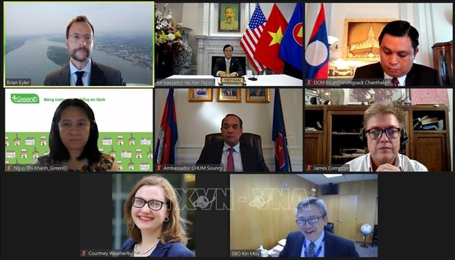Hội thảo trực tuyến công bố Báo cáo tóm tắt kết quả Đối thoại chính sách kênh 1,5 trong khuôn khổ quan hệ Đối tác Mekong – Mỹ. Ảnh: TL CQTT Washington