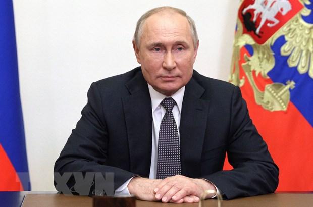 Tổng thống Nga Vladimir Putin phát biểu tại Moskva. (Ảnh: AFP/TTXVN)