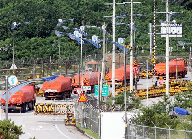 Đoàn xe tải của Hàn Quốc vận chuyển gạo viện trợ cho Triều Tiên di chuyển qua khu vực phi quân sự ở Paju, phía Bắc Seoul. Ảnh (tư liệu): AFP/TTXVN