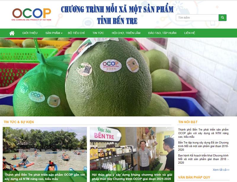 Giao diện website OCOP Bến Tre. Ảnh: Thanh Đồng