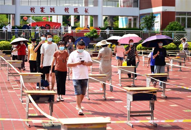 Một điểm xét nghiệm COVID-19 tại Phủ Điền, tỉnh Phúc Kiến, Trung Quốc, ngày 16-9-2021. Ảnh: THX/TTXVN