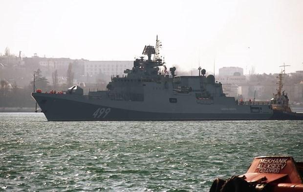 Tàu Đô đốc Makarov của Nga rời căn cứ. (Ảnh minh họa. Nguồn: TASS)