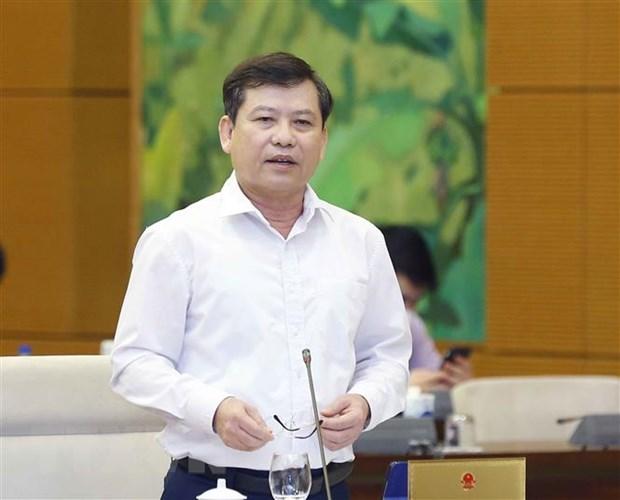 Viện trưởng Viện Kiểm sát Nhân dân Tối cao Lê Minh Trí trình bày báo cáo (tóm tắt). (Ảnh: Doãn Tấn/TTXVN)