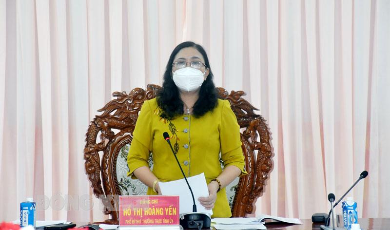 Phó bí thư Thường trực Tỉnh ủy - Chủ tịch HĐND tỉnh Hồ Thị Hoàng Yến kết luận tại buổi kiểm tra.