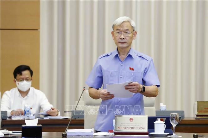 Ủy ban Tài chính, Ngân sách của Quốc hội Nguyễn Phú Cường, Phó Trưởng đoàn Thường trực Đoàn giám sát trình bày các văn bản liên quan. Ảnh: Doãn Tấn/TTXVN