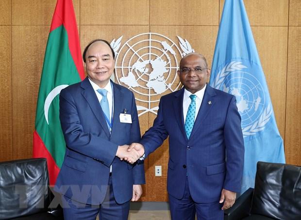 Chủ tịch nước Nguyễn Xuân Phúc gặp Chủ tịch Đại hội đồng Liên hợp quốc Abdullah Shalid. Ảnh: Thống Nhất/TTXVN