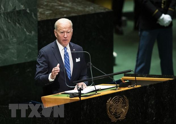 Tổng thống Mỹ Joe Biden phát biểu tại phiên họp chung cấp cao của Đại hội đồng Liên hợp quốc khoá 76 ở New York, ngày 21-9-2021. (Ảnh: THX/TTXVN)