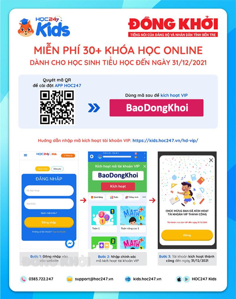 Nhập mã BaoDongKhoi kích hoạt tài khoản VIP HOC247 Kids.