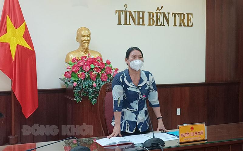 Phó chủ tịch UBND tỉnh Nguyễn Thị Bé Mười phát biểu tại buổi làm việc.