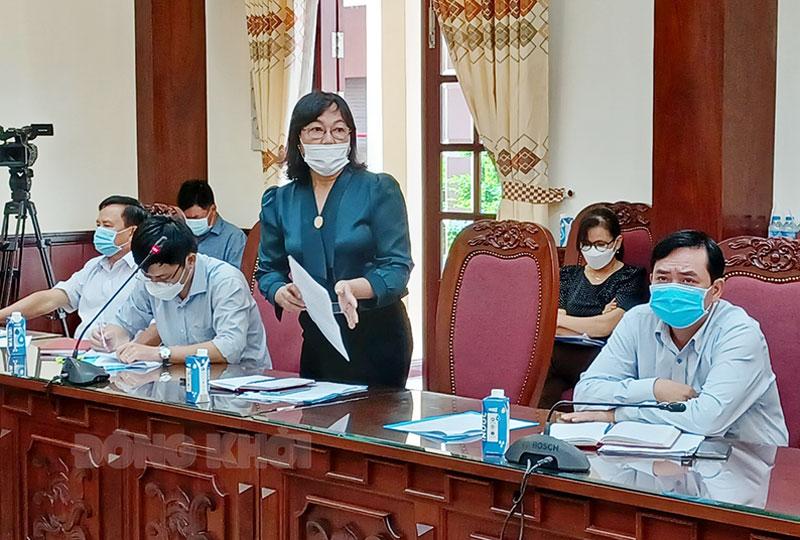Giám đốc  Trung tâm dịch vụ việc làm Bến Tre Nguyễn Thị Thủy thông tin thị trường lao động.