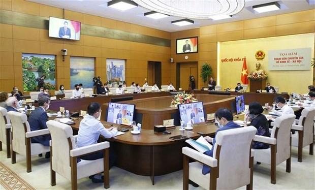 Tọa đàm tham vấn chuyên gia về kinh tế-xã hội do Chủ tịch Quốc hội Vương Đình Huệ chủ trì, tại Nhà Quốc hội ngày 27-9-2021. (Ảnh: Doãn Tấn/TTXVN)