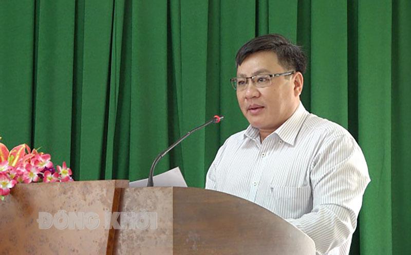 Bí thư Huyện ủy Nguyễn Văn Đảm phát biểu kết luận tại hội nghị. Ảnh: Việt Cường