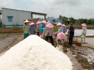 Xã Bảo Thạnh được hỗ trợ vốn vay sản xuất muối trải bạt