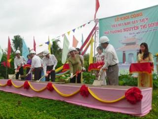 Khởi công xây dựng hạng mục Nhà bia Khu lưu niệm Nữ tướng Nguyễn Thị Định