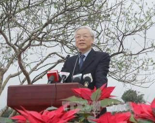 Tổng Bí thư tham dự Tết trồng cây tại Khu Công nghệ cao Hòa Lạc