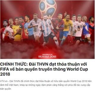 VTV chính thức sở hữu bản quyền truyền hình World Cup 2018