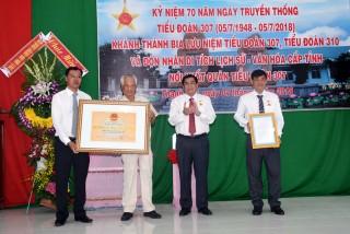 Lễ kỷ niệm 70 năm Ngày truyền thống Tiểu đoàn 307 và đón nhận di tích lịch sử cấp tỉnh