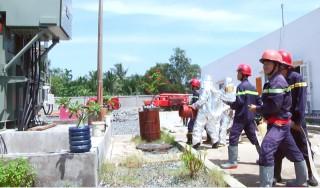 Thực tập phương án chữa cháy và cứu nạn, cứu hộ tại trạm biến áp 110kv Giồng Trôm