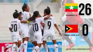 Giải vô địch U15 Đông Nam Á: U15 nữ Myanmar 26-0 Timor Leste