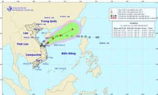 Áp thấp nhiệt đới cách Quảng Trị - Quảng Ngãi khoảng 180km