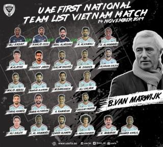 UAE công bố danh sách 24 cầu thủ tham dự trận đấu với Việt Nam