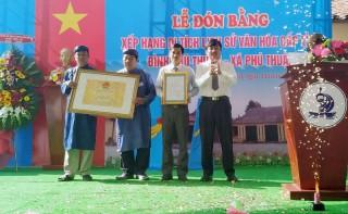 Đình Phú Thuận đón nhận bằng di tích lịch sử - văn hóa cấp tỉnh
