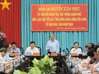 Thủ tướng Chính phủ Nguyễn Xuân Phúc làm việc với các tỉnh về hạn mặn