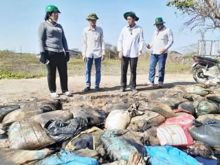 Bình Đại kiểm tra việc thu gom các bao tải lạ dạt vào bờ biển