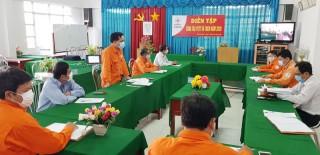 Điện lực Mỏ Cày Nam diễn tập phòng chống thiên tai và tìm kiếm cứu nạn