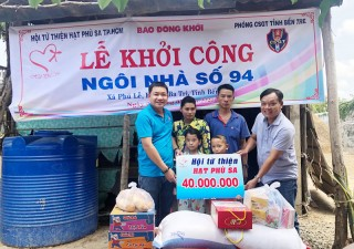 Hỗ trợ tiền xây nhà tình thương tại huyện Ba Tri