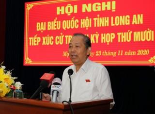 Phó thủ tướng Trương Hòa Bình tiếp xúc cử tri huyện Mộc Hóa