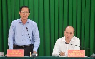 Bí thư Tỉnh ủy Phan Văn Mãi làm việc với Thành ủy TP. Bến Tre