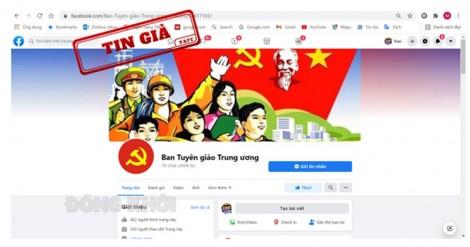 Công bố fanpage giả mạo fanpage Ban Tuyên giáo Trung ương