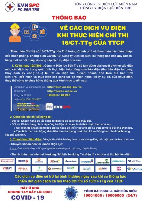 Thông báo về các dịch vụ điện khi thực hiện Chỉ thị số 16/CT-TTg