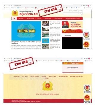 Công bố website giả mạo Cổng thông tin điện tử Bộ Công an