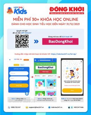 """Nhập mã """"BaoDongKhoi"""" để học online miễn phí học kỳ 1 năm học 2021-2022"""